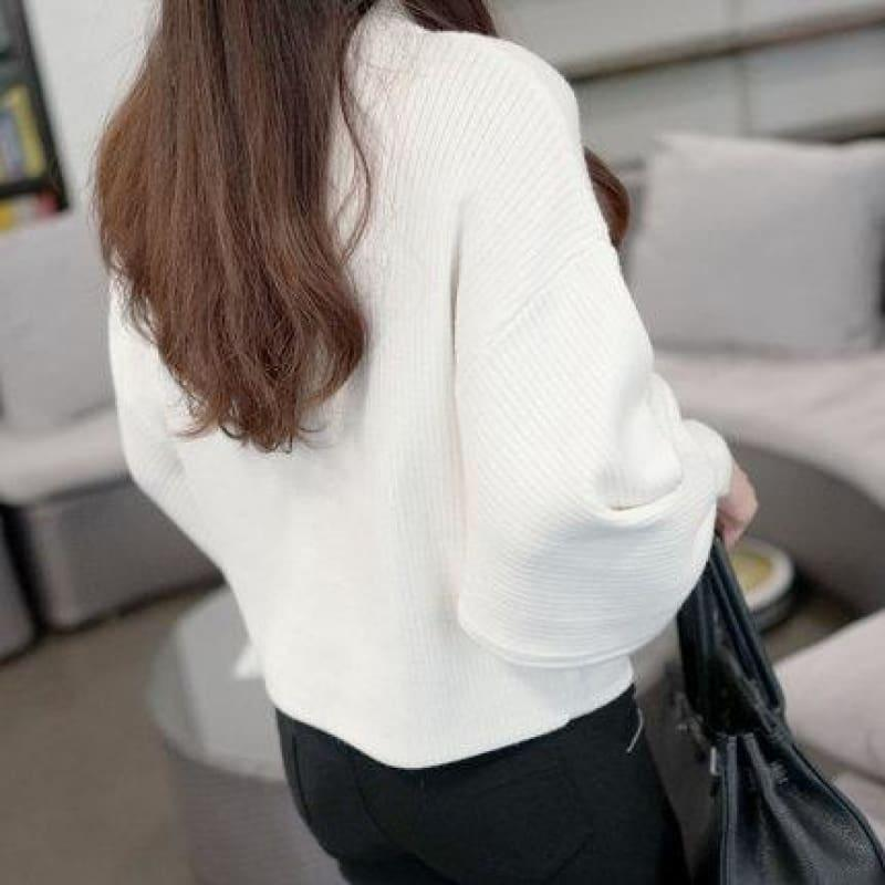 Turtleneck Batwing Sleeve Pullovers Loose Knitted Sweater Top - White / One Size - Long Sleeve