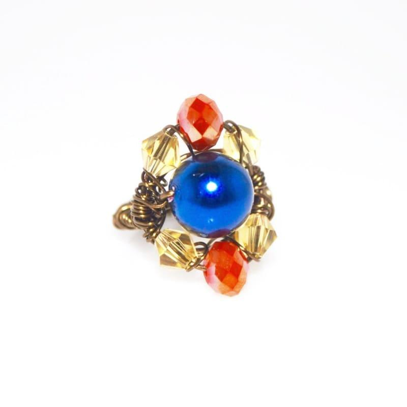 Two beads blue and red bronze wire ring - Handmade