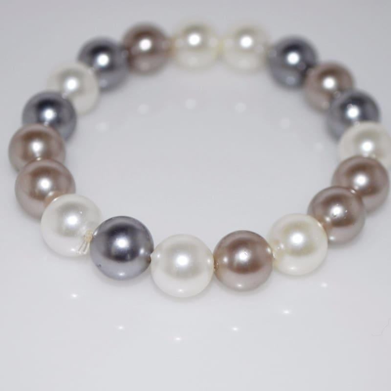 Two Tone Shell Womens Beaded Bracelets - Handmade