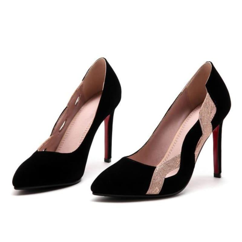 Two Toned Pointed Toe Shallow Elegant High Heels Pump - Black / 6 - Pumps