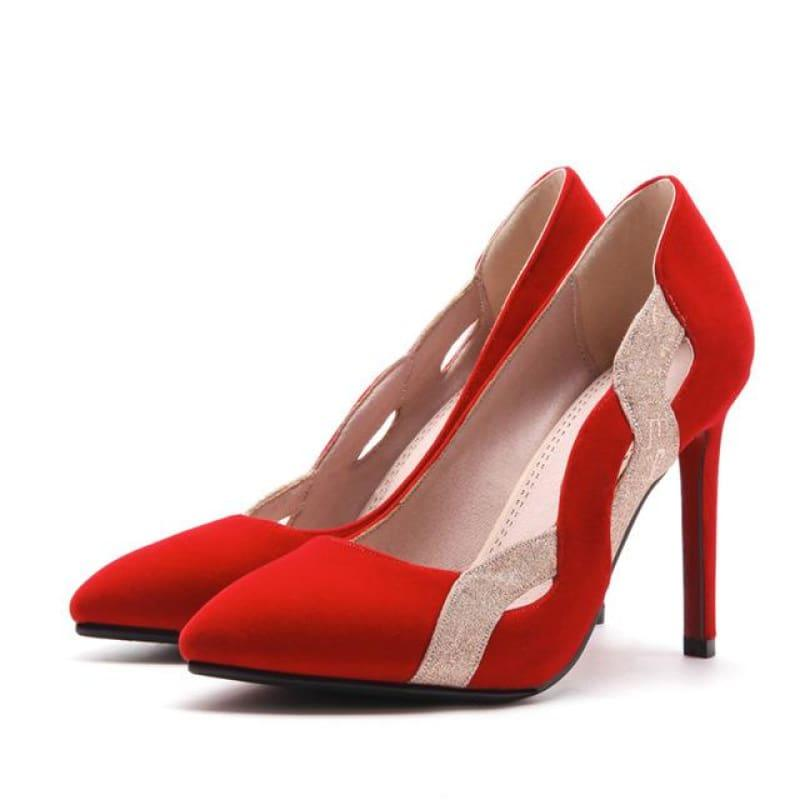 Two Toned Pointed Toe Shallow Elegant High Heels Pump - Red / 6 - Pumps