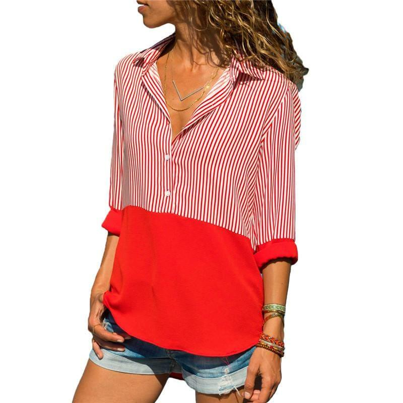 Two Toned Striped Long Sleeve Turn Down Collar Blouse - Red / L - Long Sleeve