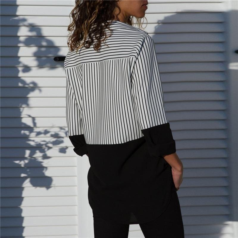 Two Toned Striped Long Sleeve Turn Down Collar Blouse - Long Sleeve