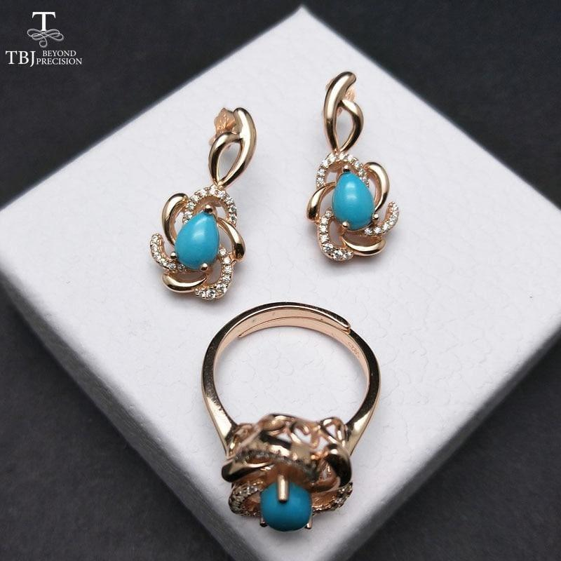 Unique andElegant Turquoise Earring and Ring Jewelry Set - Blue / Resizable / 45cm - jewelry set