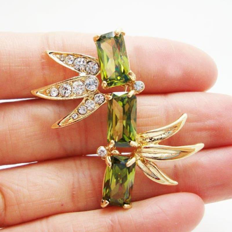 Unique Bamboo Mens Art Nouveau Little Brooch Pin Green Rhinestone Crystal - brooch
