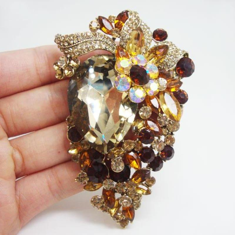 Unique Flower Cluster Gold-Tone Brooch Pin Pendant Rhinestone Crystal - Brooch