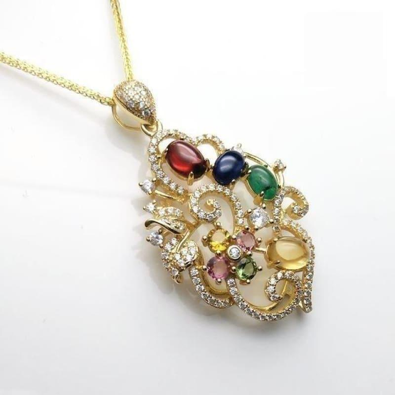 Unique Flower Pendant with Natural Tourmaline and Emerald Sapphire Garnet Citrine Necklace - multi color - Necklace