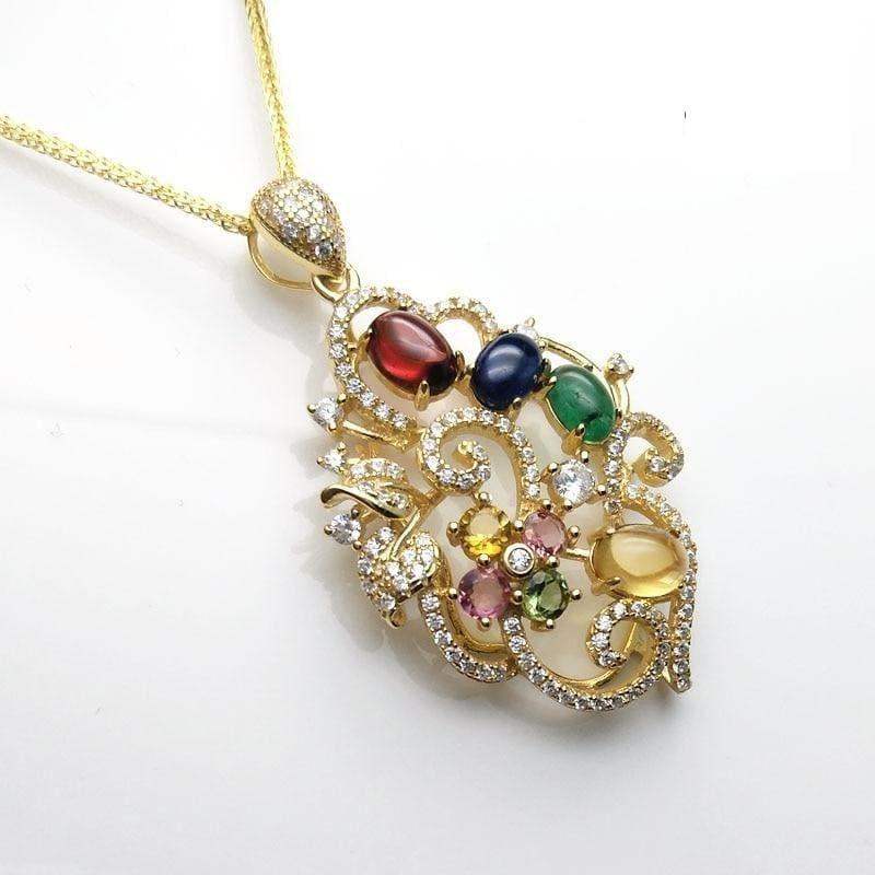 Unique Flower Pendant with Natural Tourmaline and Emerald Sapphire Garnet Citrine Necklace - Necklace