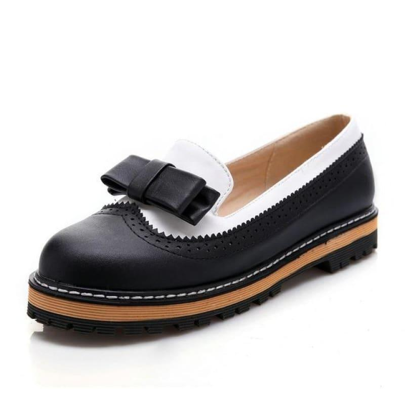 Unique Leather Platform All Match Slipon Bow Tie Fashion Women Flats - Black / 5 - Flats