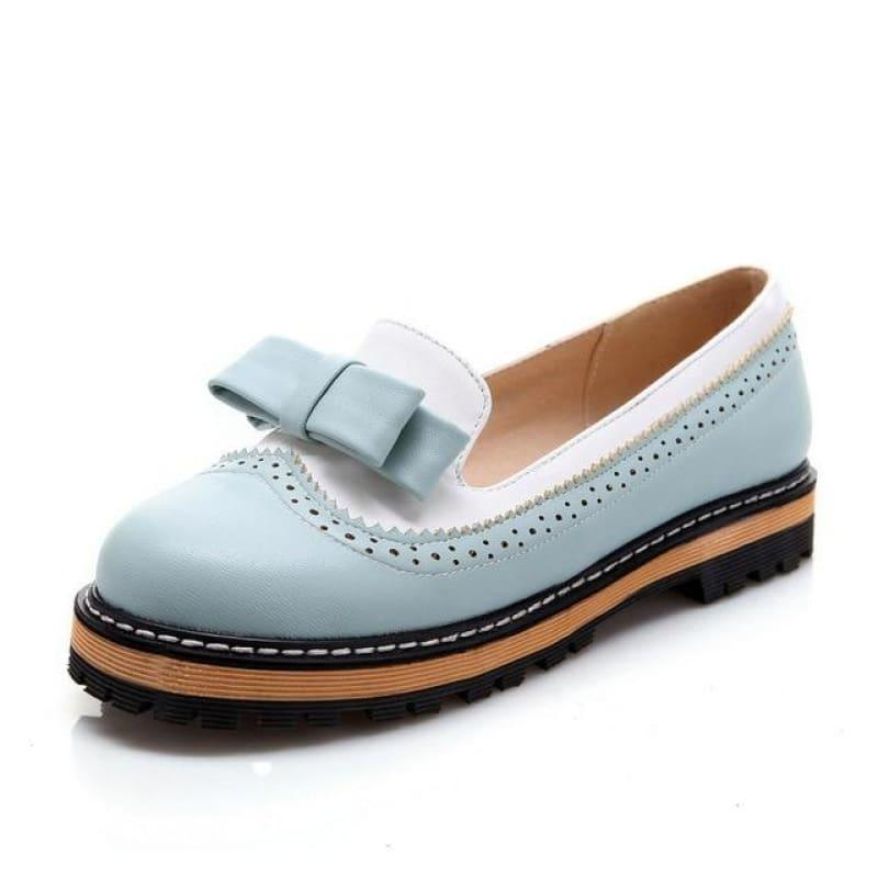 Unique Leather Platform All Match Slipon Bow Tie Fashion Women Flats - Blue / 5 - Flats