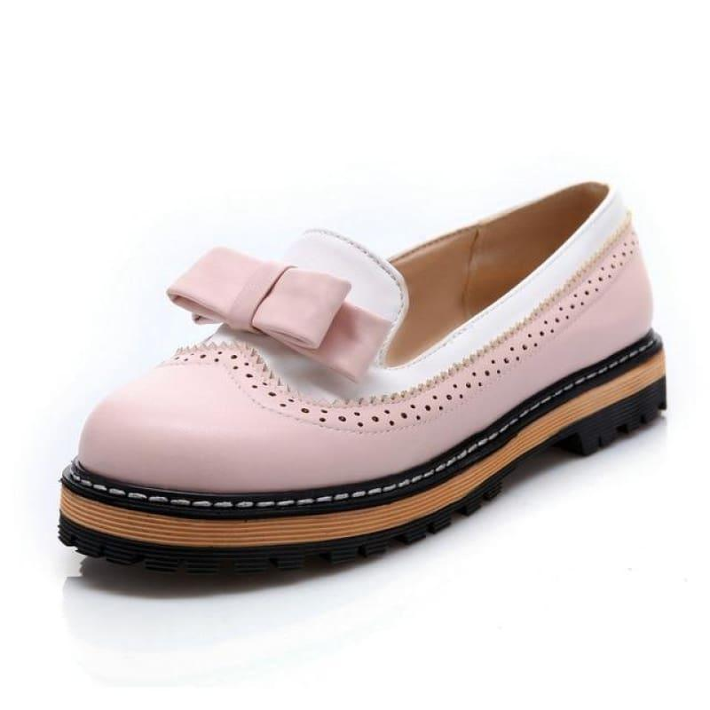 Unique Leather Platform All Match Slipon Bow Tie Fashion Women Flats - Pink / 5 - Flats