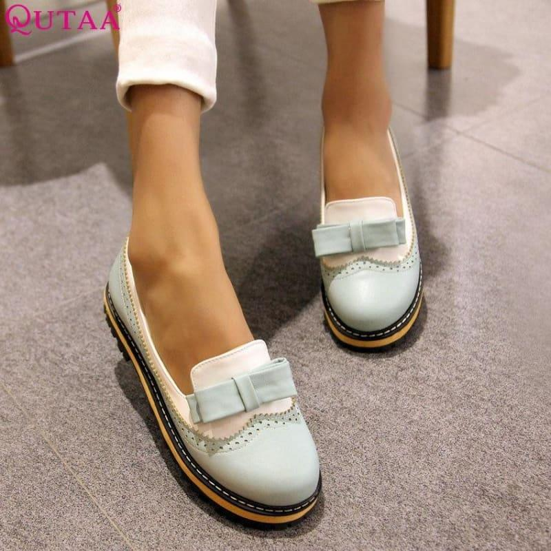 Unique Leather Platform All Match Slipon Bow Tie Fashion Women Flats - Flats