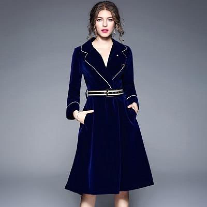 Velvet A-line Solid Long Sleeve Notched Collar Business Wear Midi Dress - Royal blue / M - Midi Dress