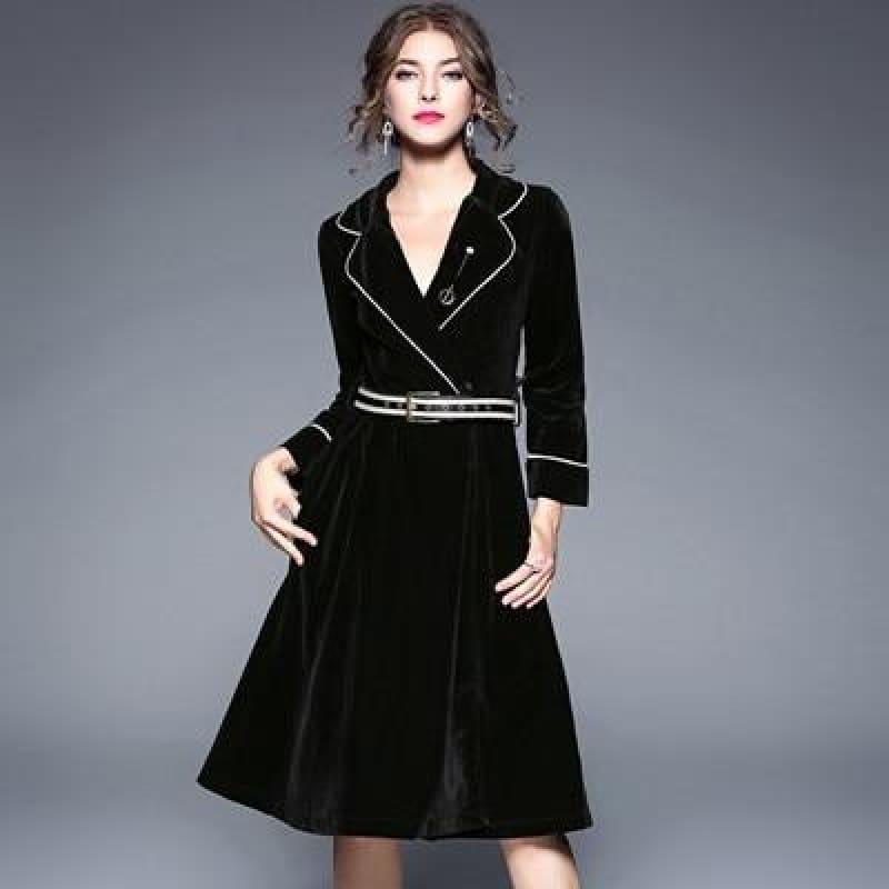 Velvet A-line Solid Long Sleeve Notched Collar Business Wear Midi Dress - Midi Dress