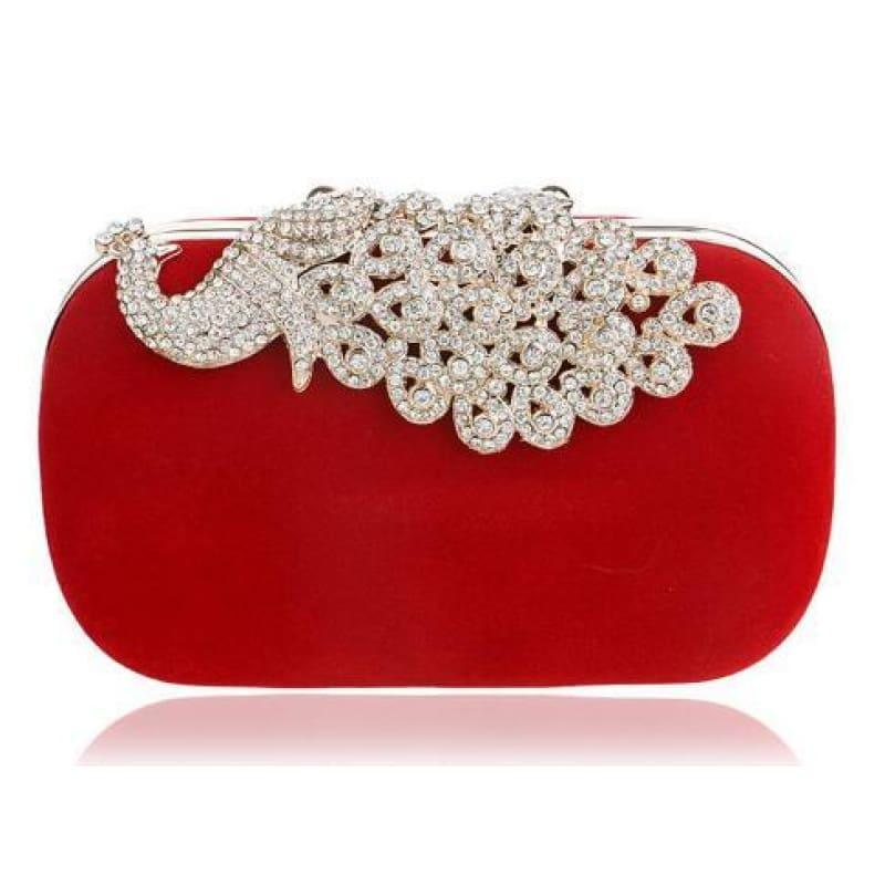 Velvet Chain Shoulder Evening Small Clutch Bag - YM1009red / Mini(Max Length<20cm) - Clutch