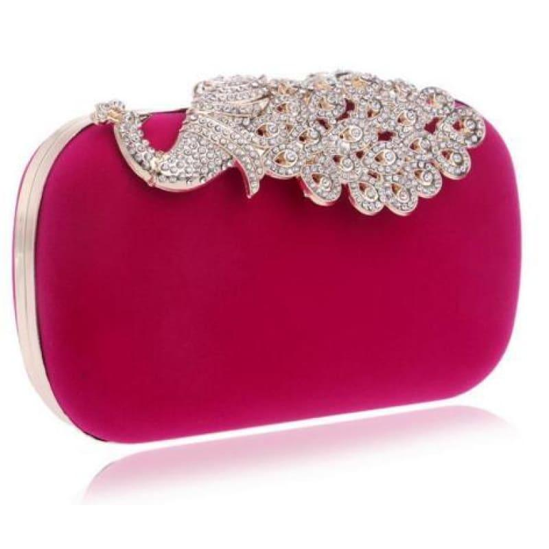 Velvet Chain Shoulder Evening Small Clutch Bag - YM1009rose / Mini(Max Length<20cm) - Clutch