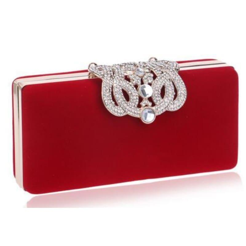 Velvet Chain Shoulder Evening Small Clutch Bag - YM1010red / Mini(Max Length<20cm) - Clutch