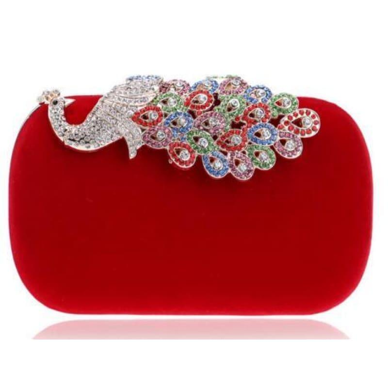 Velvet Chain Shoulder Evening Small Clutch Bag - YM1022red / Mini(Max Length<20cm) - Clutch
