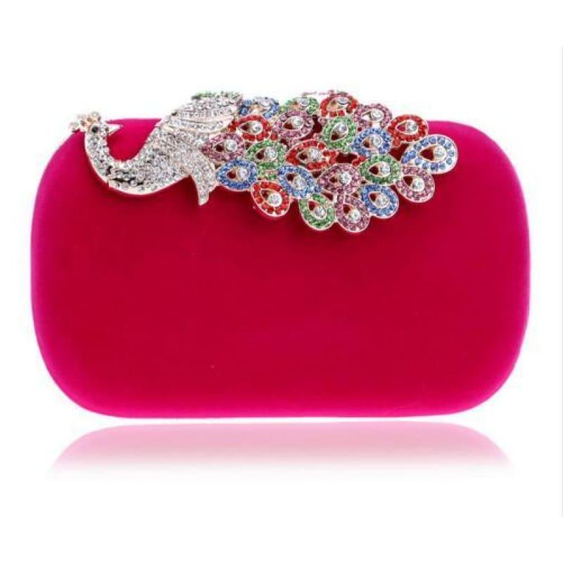 Velvet Chain Shoulder Evening Small Clutch Bag - YM1022rose / Mini(Max Length<20cm) - Clutch