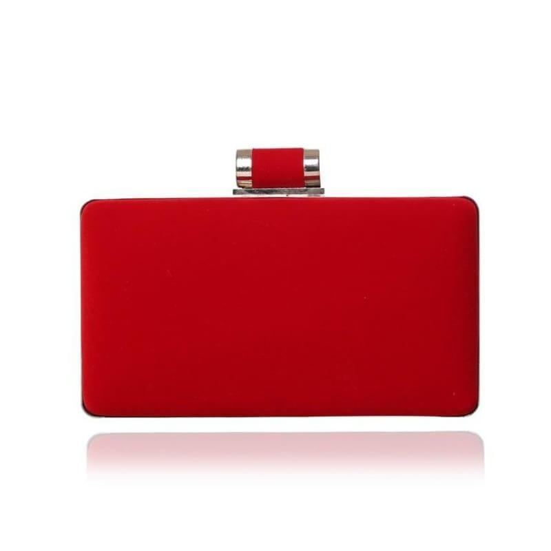 Velvet Chain Shoulder Evening Small Clutch Bag - YM1053red / Mini(Max Length<20cm) - Clutch