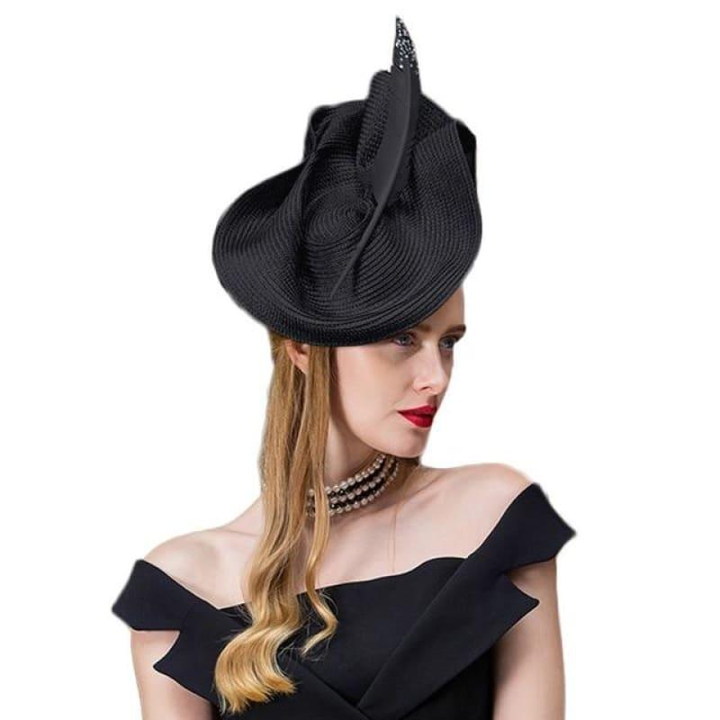 Vintage Black Gray Elegant Fedora Wedding Ladies With Feather Church Hats - Black Derby Hat / One Size - Hats