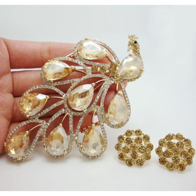 Vintage Fashion Nigerian African Style Peacock Bird Brooch Pin Earrings Set Brown Crystal Rhinestone Bird - brooch