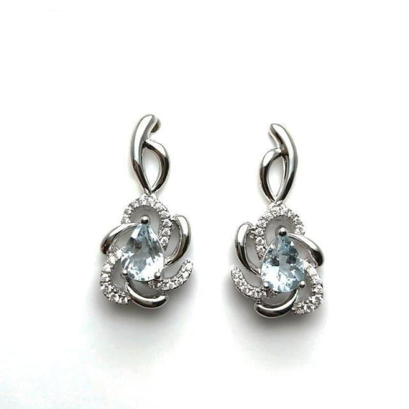 Vintage Flower Brazilian Aquamarine in 925 Silver Rose Gold Earrings - natural aquamarine - earrings