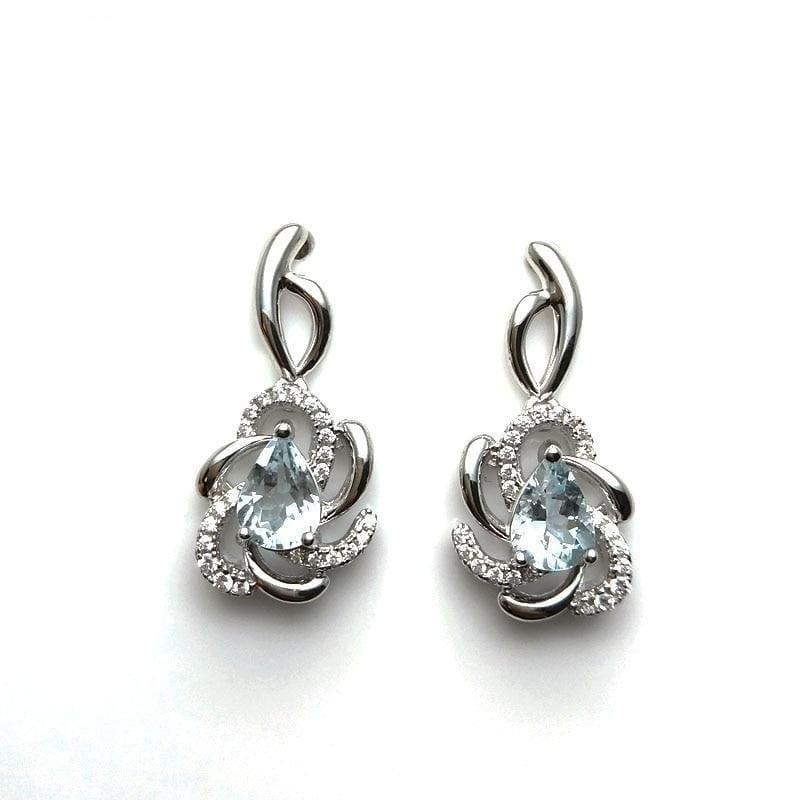 Vintage Flower Brazilian Aquamarine in 925 Silver Rose Gold Earrings - earrings