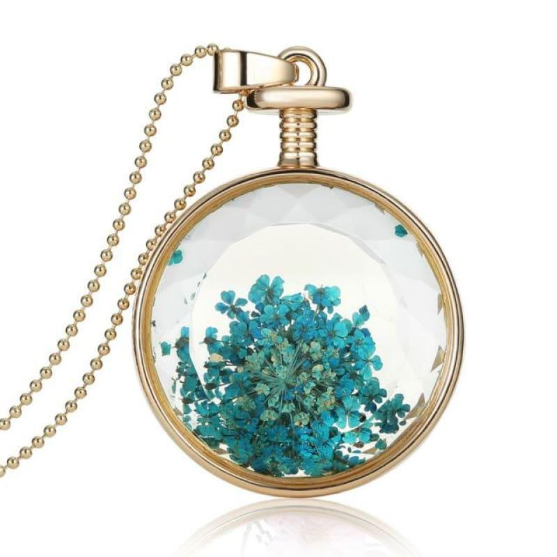 Vintage Flowers Glass Necklace & Pendant Gold Long Chain Fine Jewelry - Blue - necklace