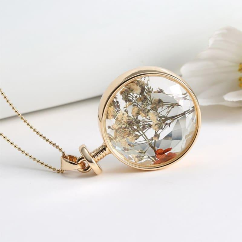 Vintage Flowers Glass Necklace & Pendant Gold Long Chain Fine Jewelry - necklace
