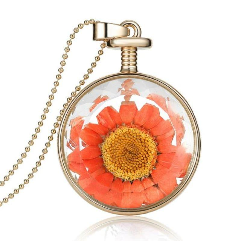 Vintage Flowers Glass Necklace & Pendant Gold Long Chain Fine Jewelry - Orange - necklace