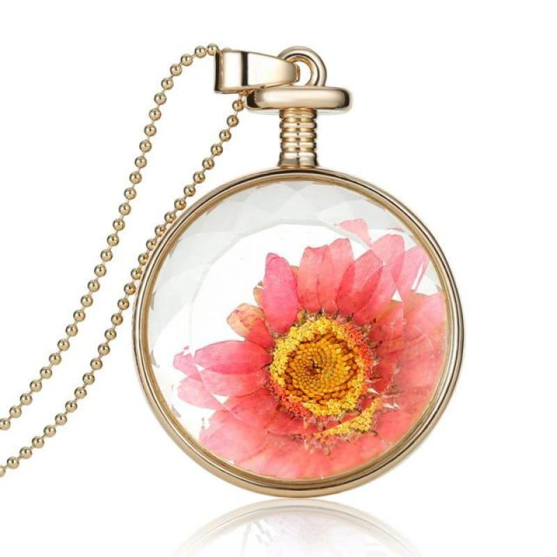 Vintage Flowers Glass Necklace & Pendant Gold Long Chain Fine Jewelry - Pink - Necklace