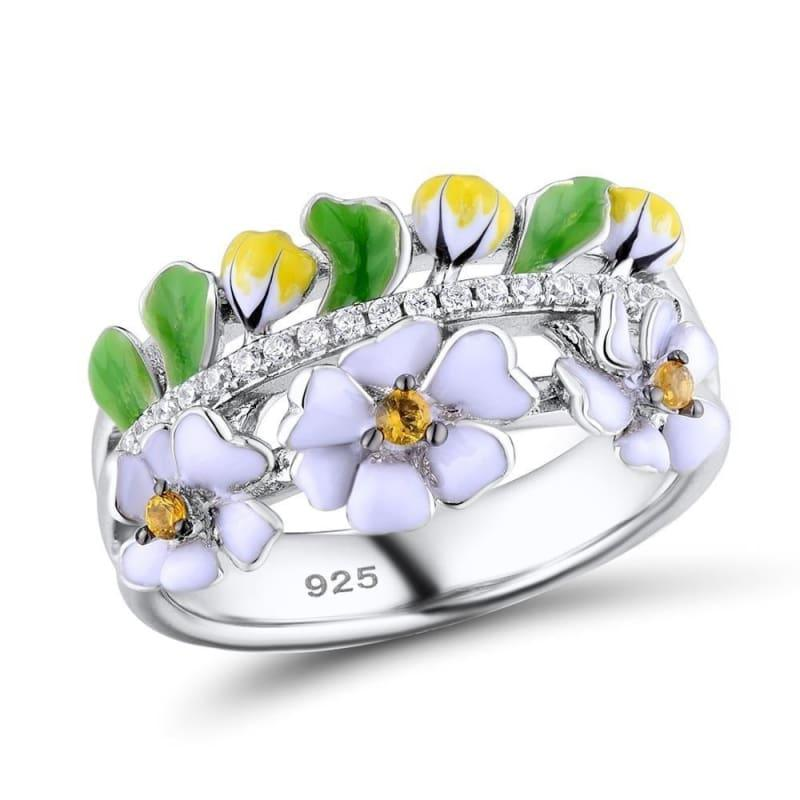 Vintage Green Leaf White Flower 925 Sterling Silver Party Fashion Jewelry Handmade Enamel Ring - 6 - Rings