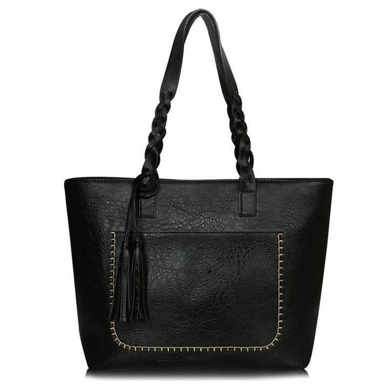 Vintage Handbag Women Leather Shoulder Tote Bag - black - HandBag