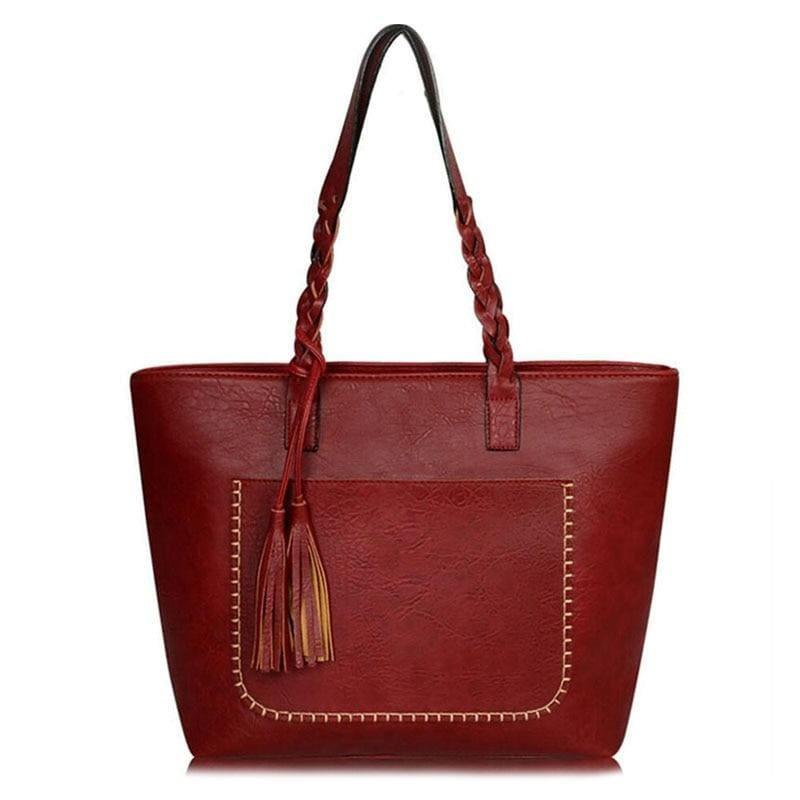 Vintage Handbag Women Leather Shoulder Tote Bag - wine red - HandBag
