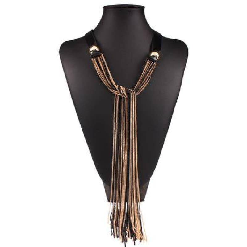 Vintage Long With Leather Layers Tassel Fine Jewelry Necklace - Gold - necklace