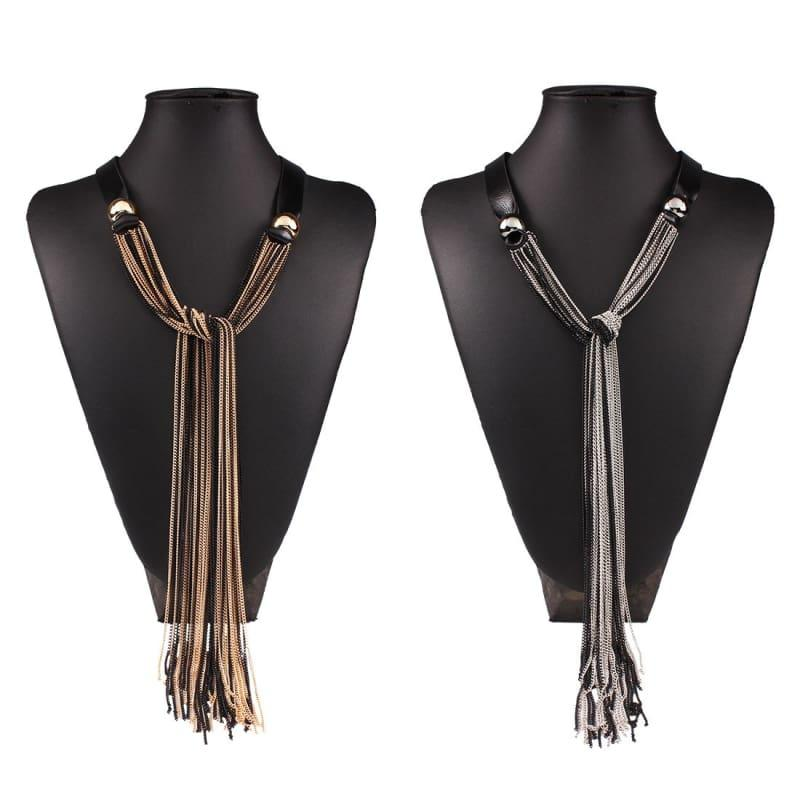 Vintage Long With Leather Layers Tassel Fine Jewelry Necklace - necklace