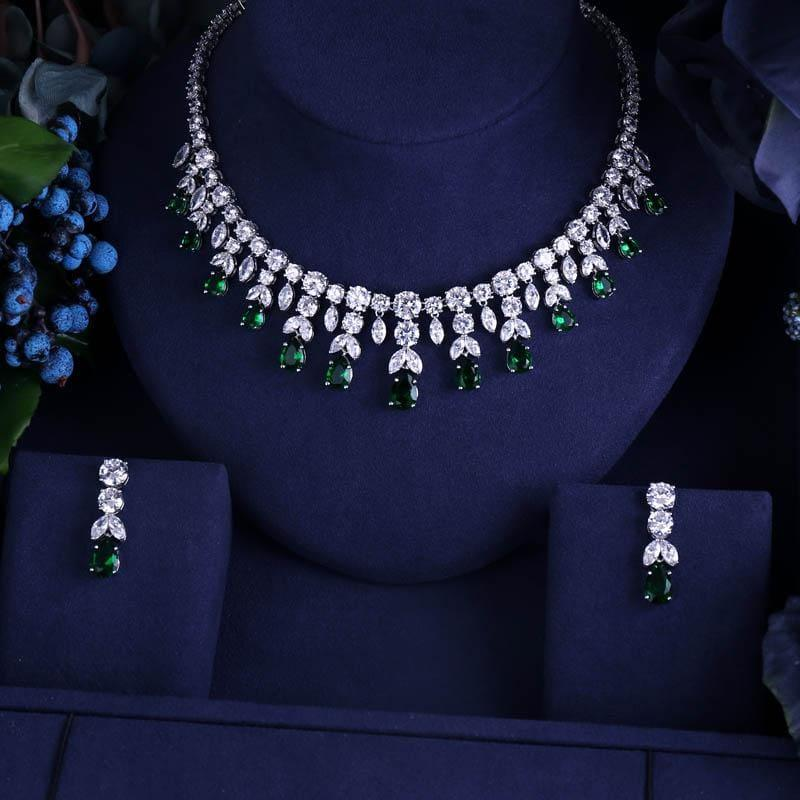 Vintage Luxury Sparking Brilliant Cubic Zircon Drop Earring Necklace r Jewelry Set - Jewelry set