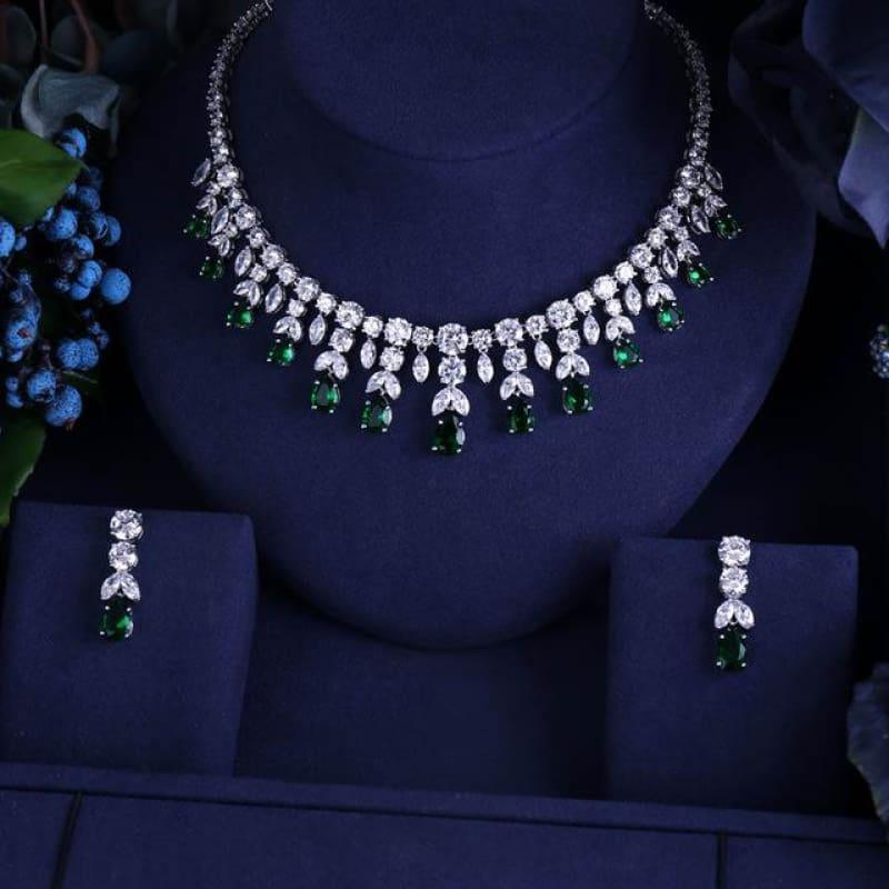 Vintage Luxury Sparking Brilliant Cubic Zircon Drop Earring Necklace r Jewelry Set - Green - Jewelry set