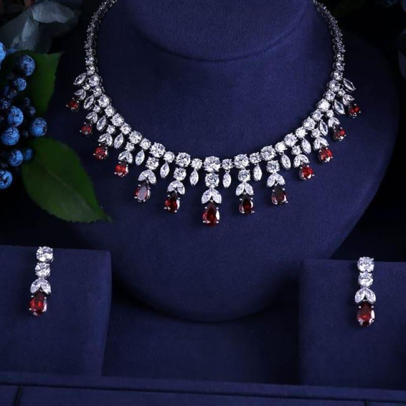 Vintage Luxury Sparking Brilliant Cubic Zircon Drop Earring Necklace r Jewelry Set - Red - Jewelry set