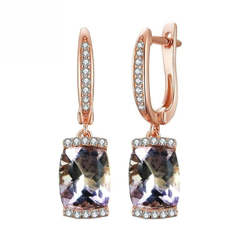 Vintage Natural Ametrine in 925 Sterling Silver Gemstone Hook Earrings - Earrings