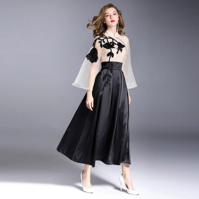 Vintage Organza Embroidery Spring Turtleneck Beading Flare Long Sleeve Maxi Dress - Maxi Dress