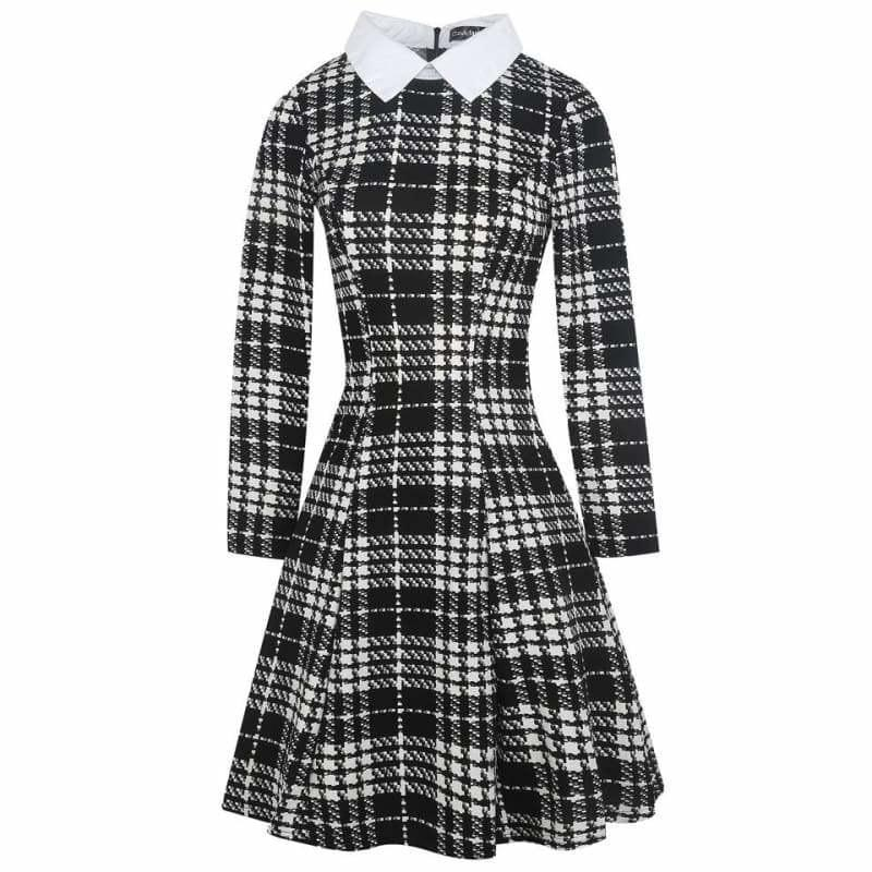 Vintage Plaid Audrey Hepburn Tunic Midi Dress - black plaid / L - Midi Dress