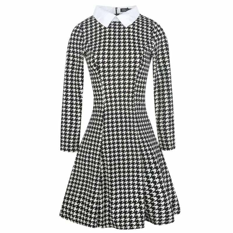 Vintage Plaid Audrey Hepburn Tunic Midi Dress - Midi Dress