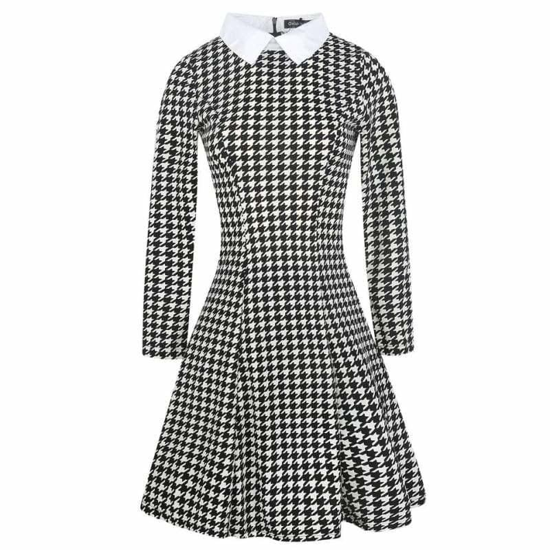 Vintage Plaid Audrey Hepburn Tunic Midi Dress - houndstooth / L - Midi Dress