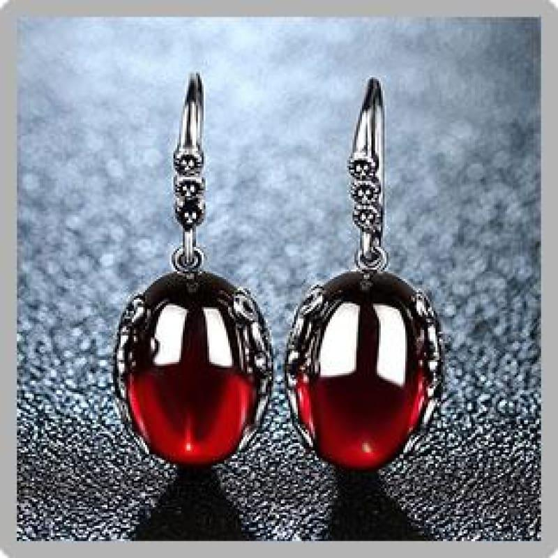 Vintage Red Garnet Retro 925 Sterling Silver Earrings - Earrings
