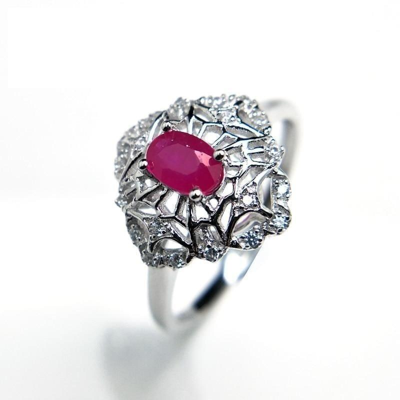 Vintage Ruby 4*6 Gemstone Elegant Flower Design Ring - Rings