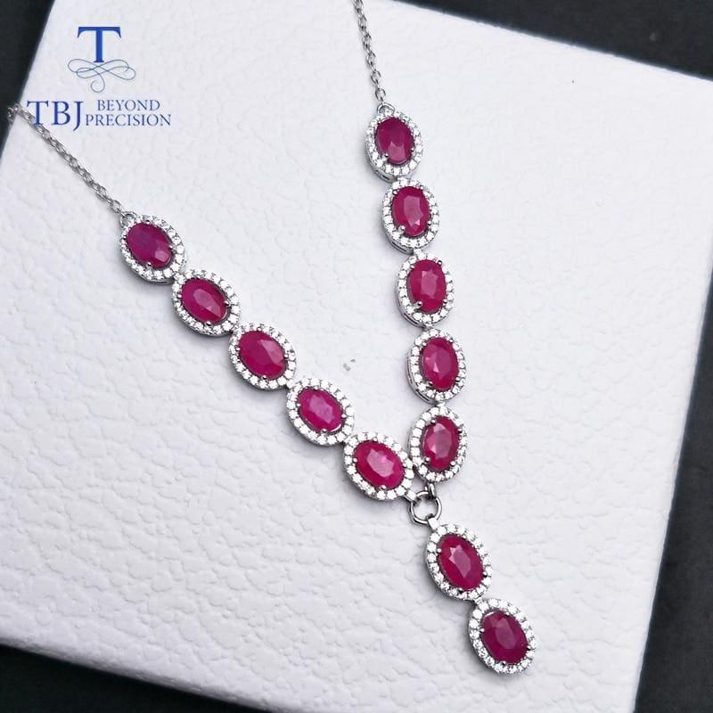 Vintage Ruby Oval 4*6mm 7.95ct S925 Silver Noble Pendant Necklace - ruby / 18 inch - Necklace