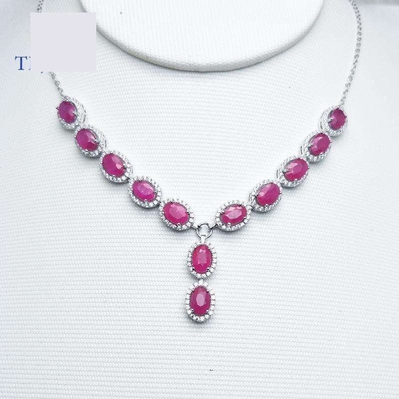 Vintage Ruby Oval 4*6mm 7.95ct S925 Silver Noble Pendant Necklace - Necklace