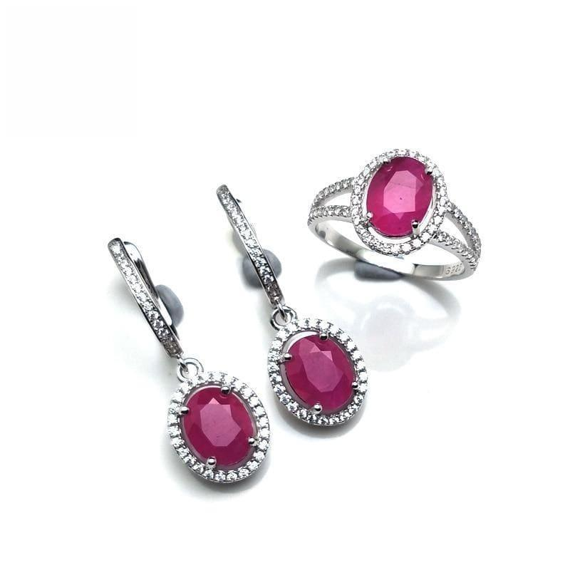 Vintage Ruby Ring and Earrings Gemstone Jewelry Set - jewelry set